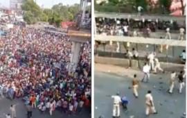 मुंबई: दूसरे लॉकडाउन की घोषणा के साथ ही घर जाने के लिए बांद्रा स्टेशन पर इकट्ठा हुए मजदूर, पुलिस का लाठी चार्ज